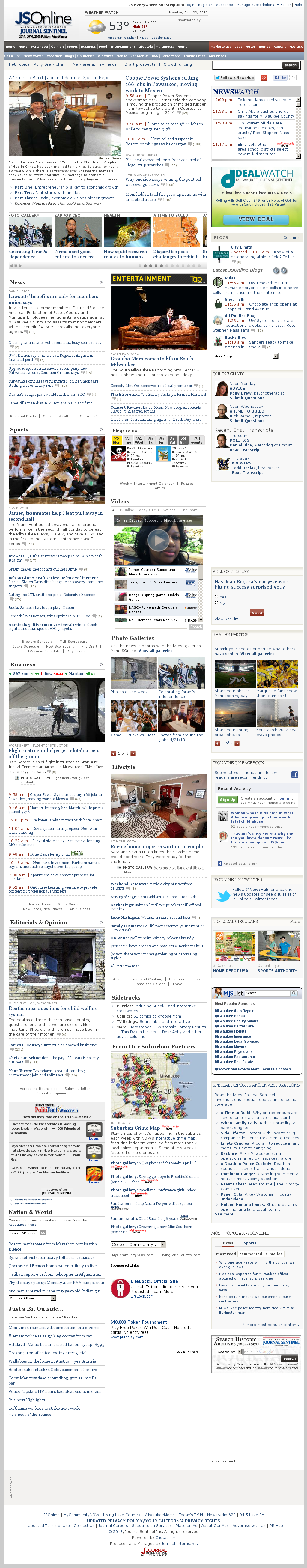 Milwaukee Journal Sentinel at Monday April 22, 2013, 5:13 p.m. UTC
