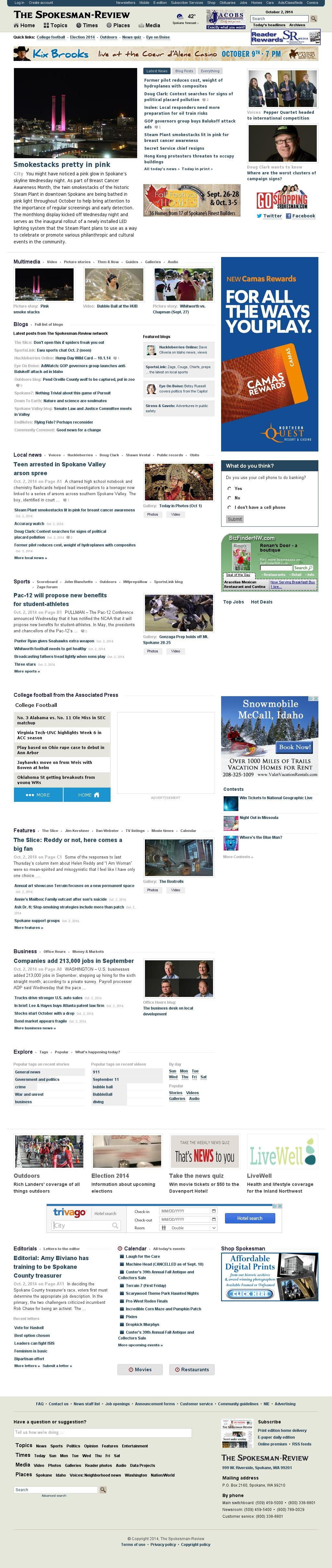 The (Spokane) Spokesman-Review at Thursday Oct. 2, 2014, 1:14 p.m. UTC