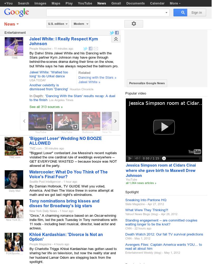 Google News: Entertainment