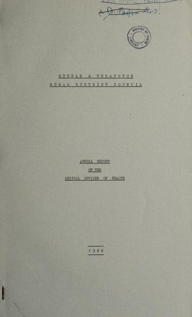 [Report 1962] by Oundle and Thrapston (England). Rural District Council
