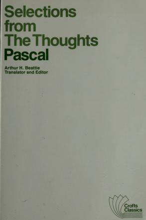 Cover of: Selections from the Thoughts | Blaise Pascal
